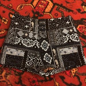 Blue Ecote patchwork textile high waisted shorts